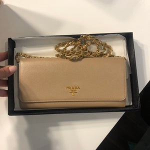 Authentic PRADA Tan Wallet on chain K