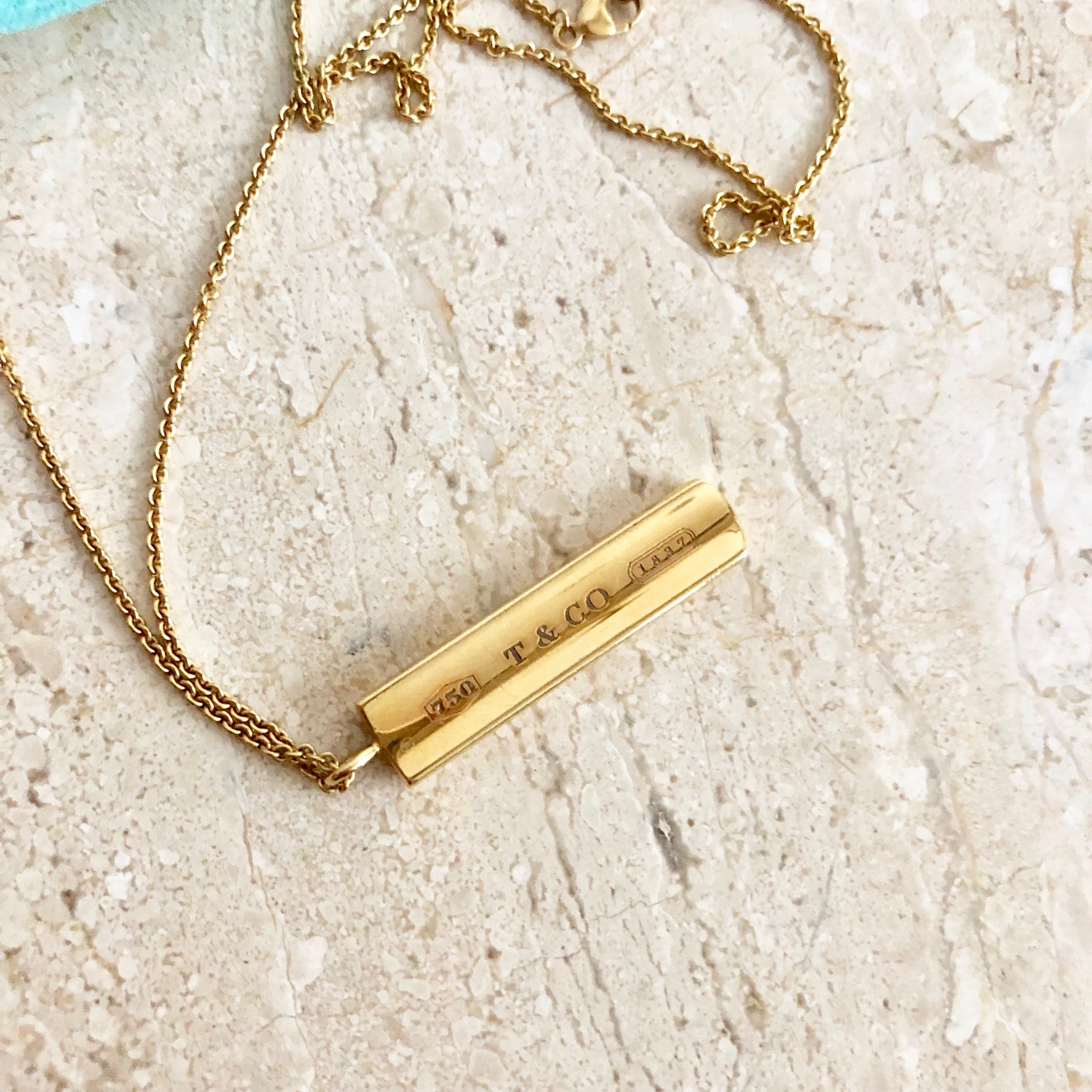 Authentic TIFFANY & CO. 18K Gold 1837 Bar Pendant Necklace
