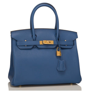 Authentic HERMES Birkin 35 Blue Agate Clemence Leather