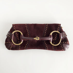 Authentic GUCCI Suede Studded Horsebit Clutch Bag