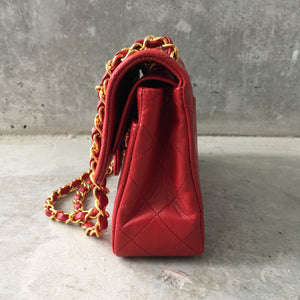 "Authentic CHANEL Vintage Double Flap 9"" Red"