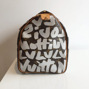 Authentic LOUIS VUITTON Stephen Sprouse Graffiti Speedy 30 Silver