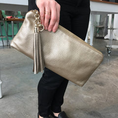 Authentic GUCCI Metallic Horsebit Clutch