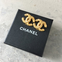 Authentic CHANEL Gold Logo Earrings