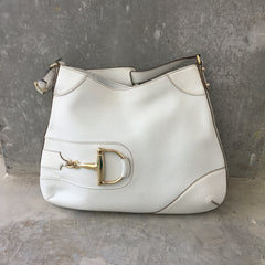 Authentic GUCCI White Hasler Leather Bag