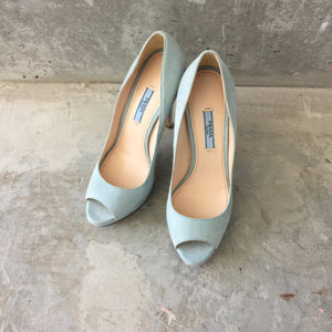 Authentic PRADA Suede Open Toe Shoes Size 8.5