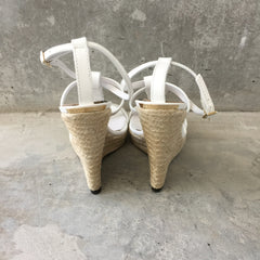Authentic BURBERRY Espadrille White Wedges Size 8.5