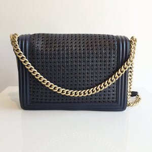 Authentic CHANEL Navy Large Boy Gold trimmed Woven Flap Bag