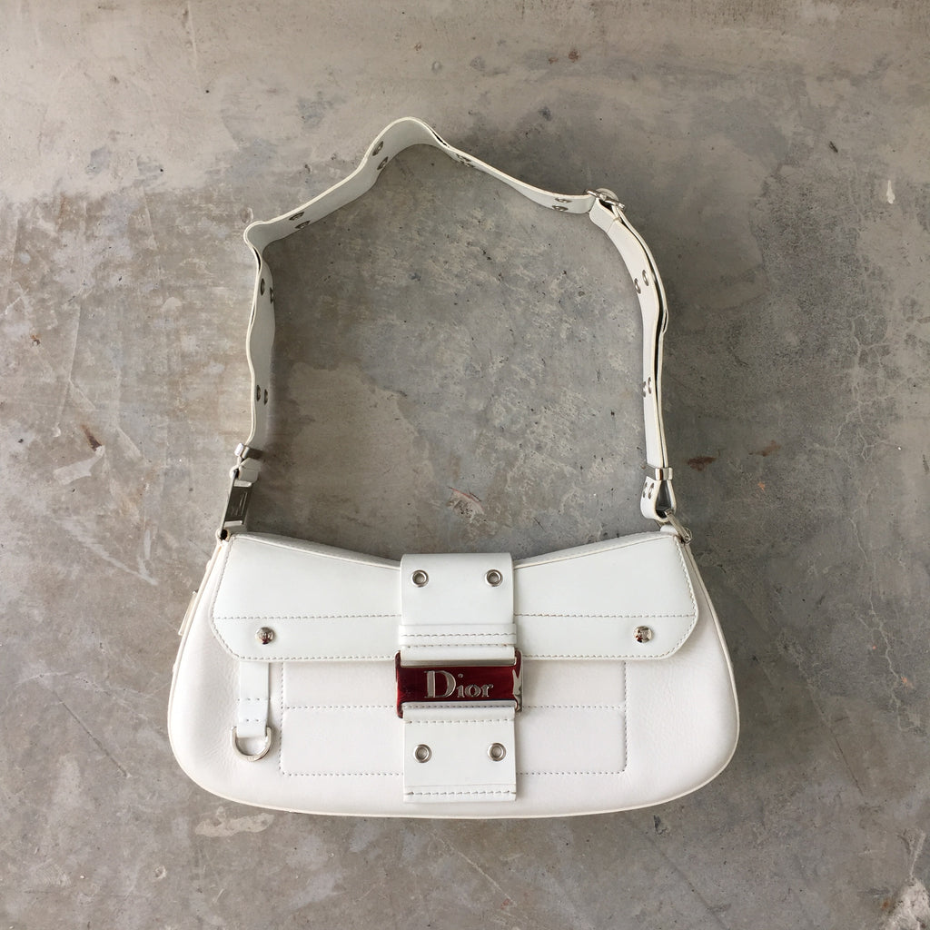 Authentic CHRISTIAN DIOR White Leather Bag 58b83109a01a5