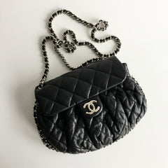 Authentic CHANEL Black All Around Chain Crossbody