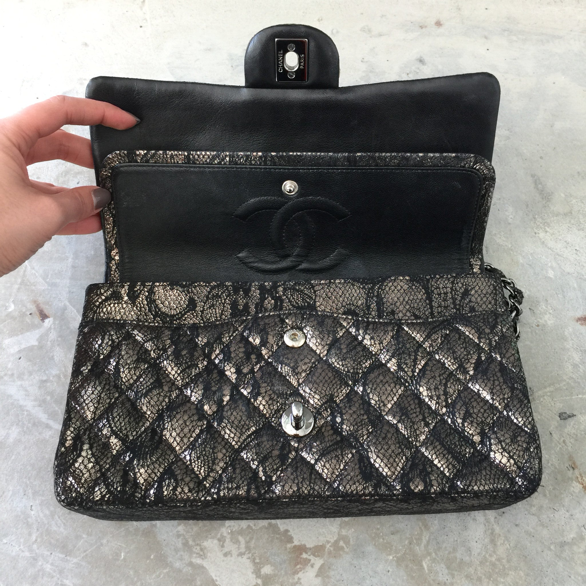 Authentic CHANEL Lace Metallic Double Flap Bag