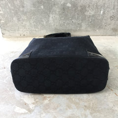 Authentic GUCCI Vintage Black Monogram Canvas Shoulder Bag