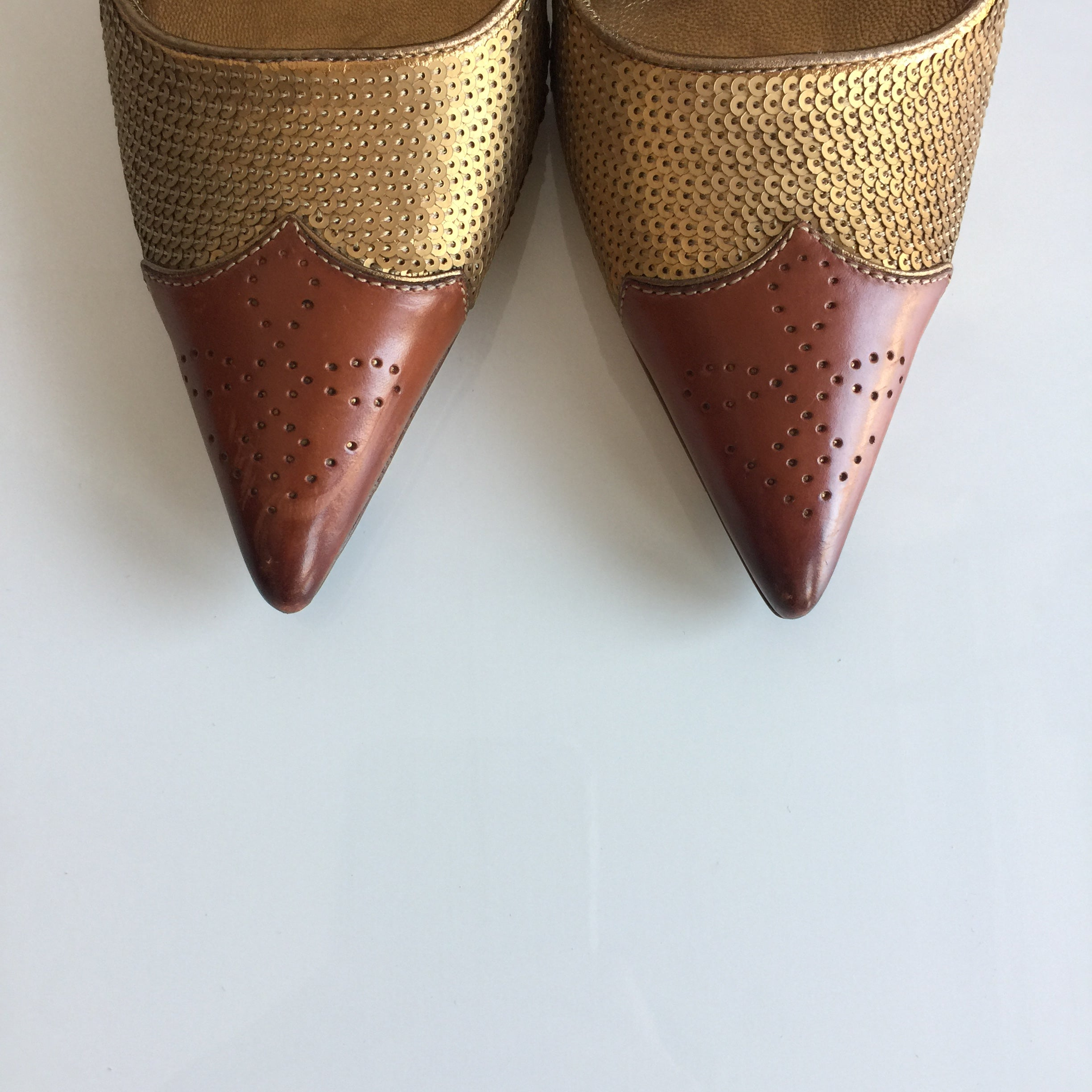 Authentic PRADA Gold Sequin Shoes Size 5