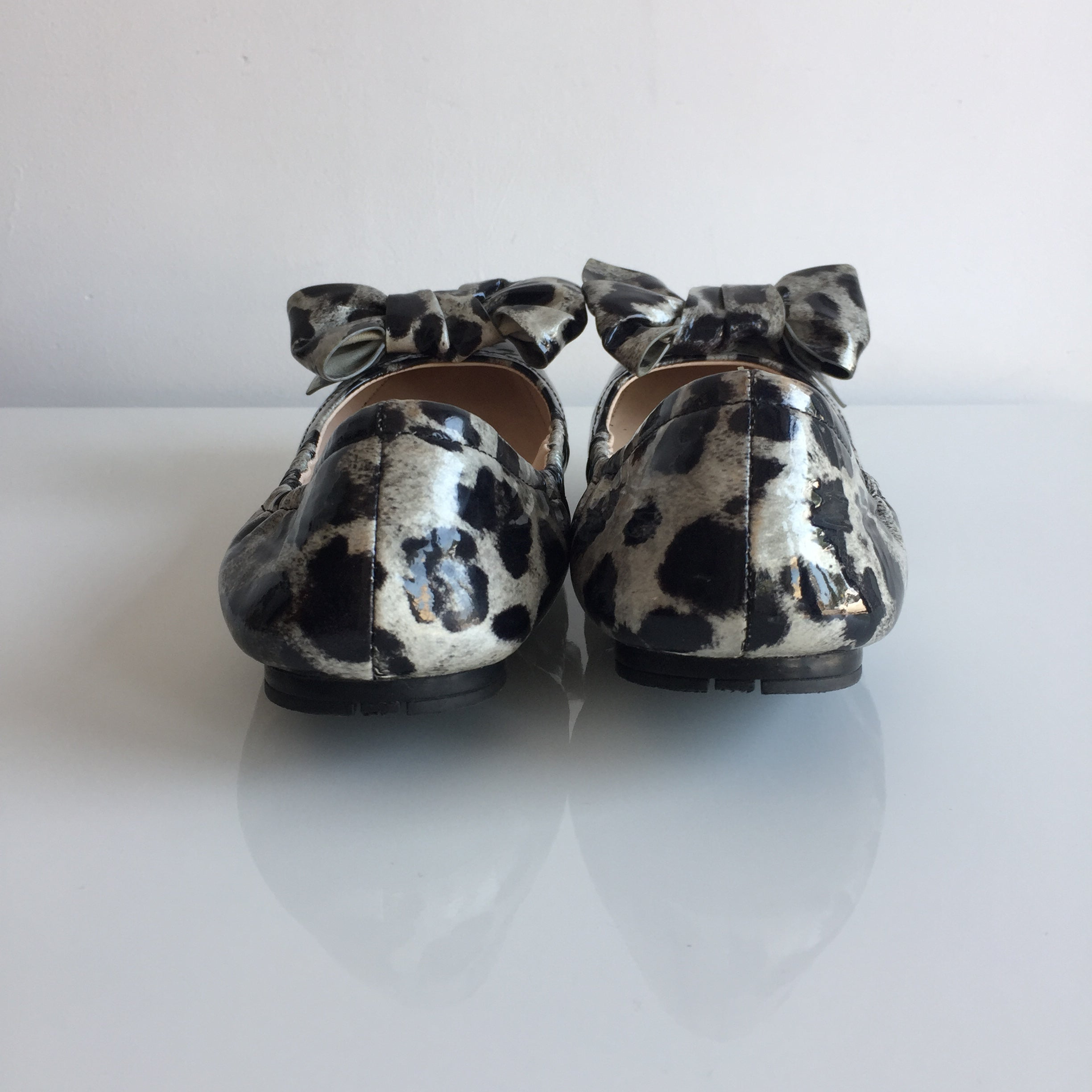 Authentic PRADA Leopard Grey Ballet With Bow Size 7