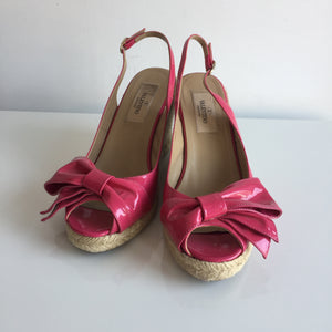 Authentic VALENTINO Patent Pink Bow Espadrille Wedges Size 7
