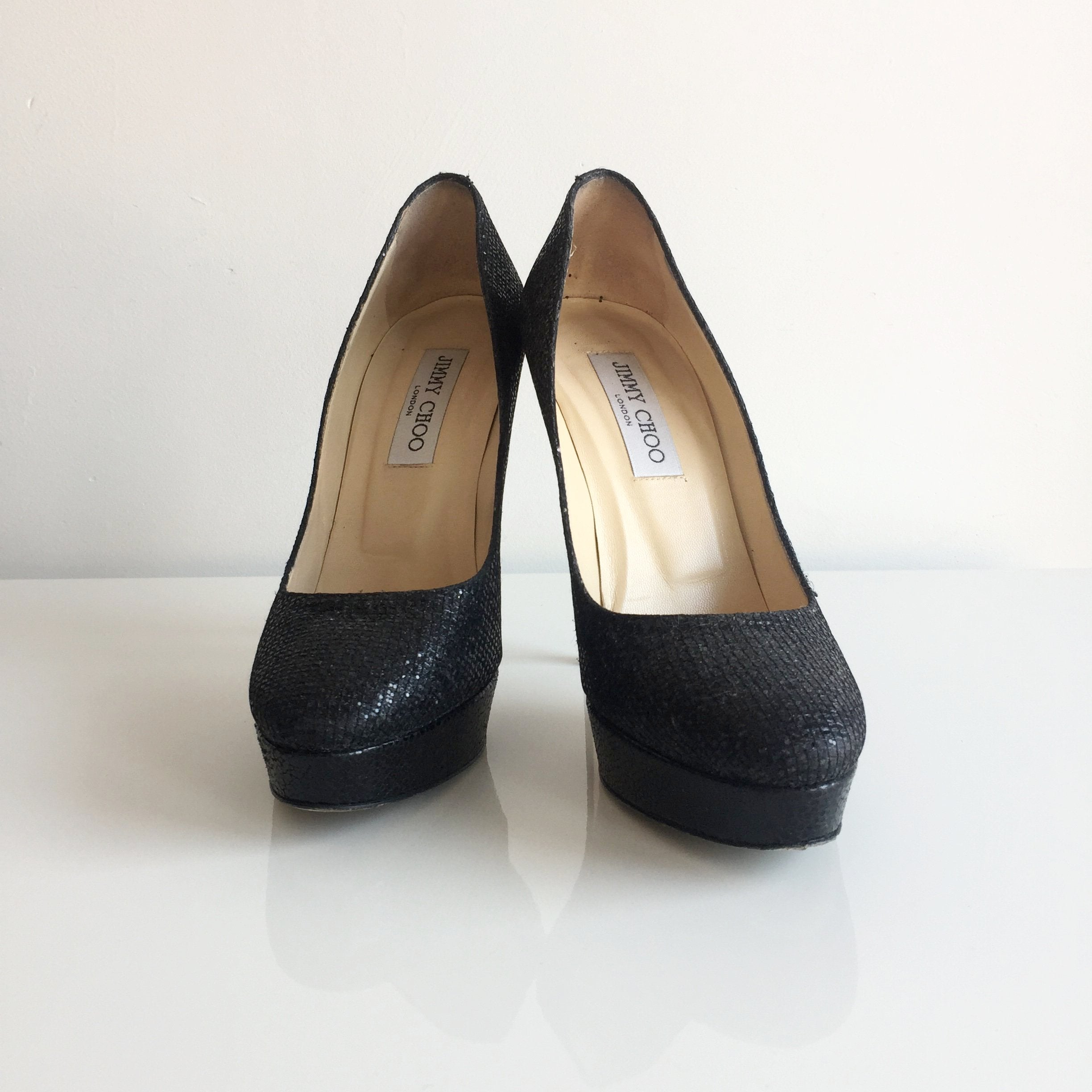 Authentic JIMMY CHOO Cosmic Glitter Black Pumps Size 7.5
