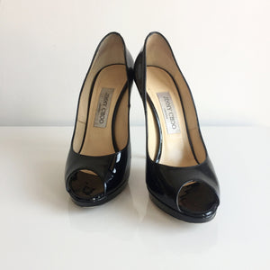 Authentic JIMMY CHOO Patent Black Open Toe Size 7