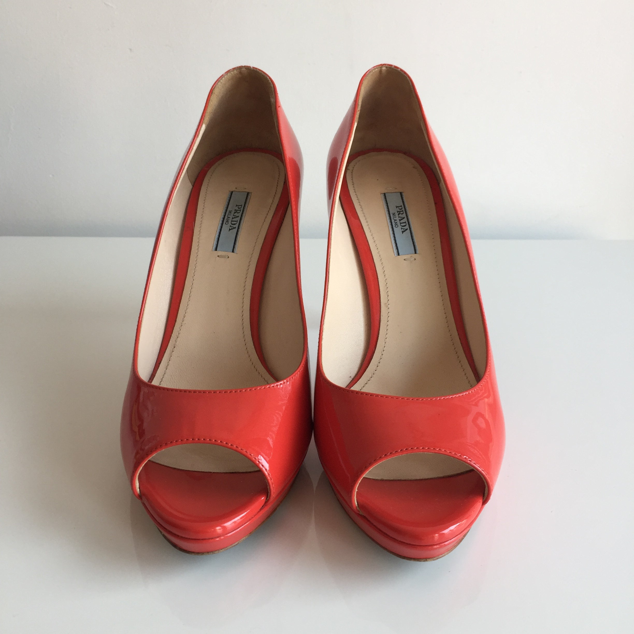 Authentic PRADA Patent Coral Open Toe Pumps Size 9