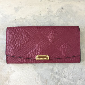 Authentic Burberry Embossed Check Continental Wallet Peony Rose