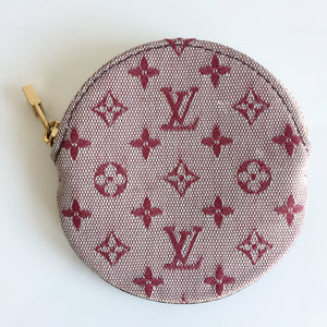 Authentic LOUIS VUITTON Porte Monnaie Round Red Cerise Canvas Coin Case