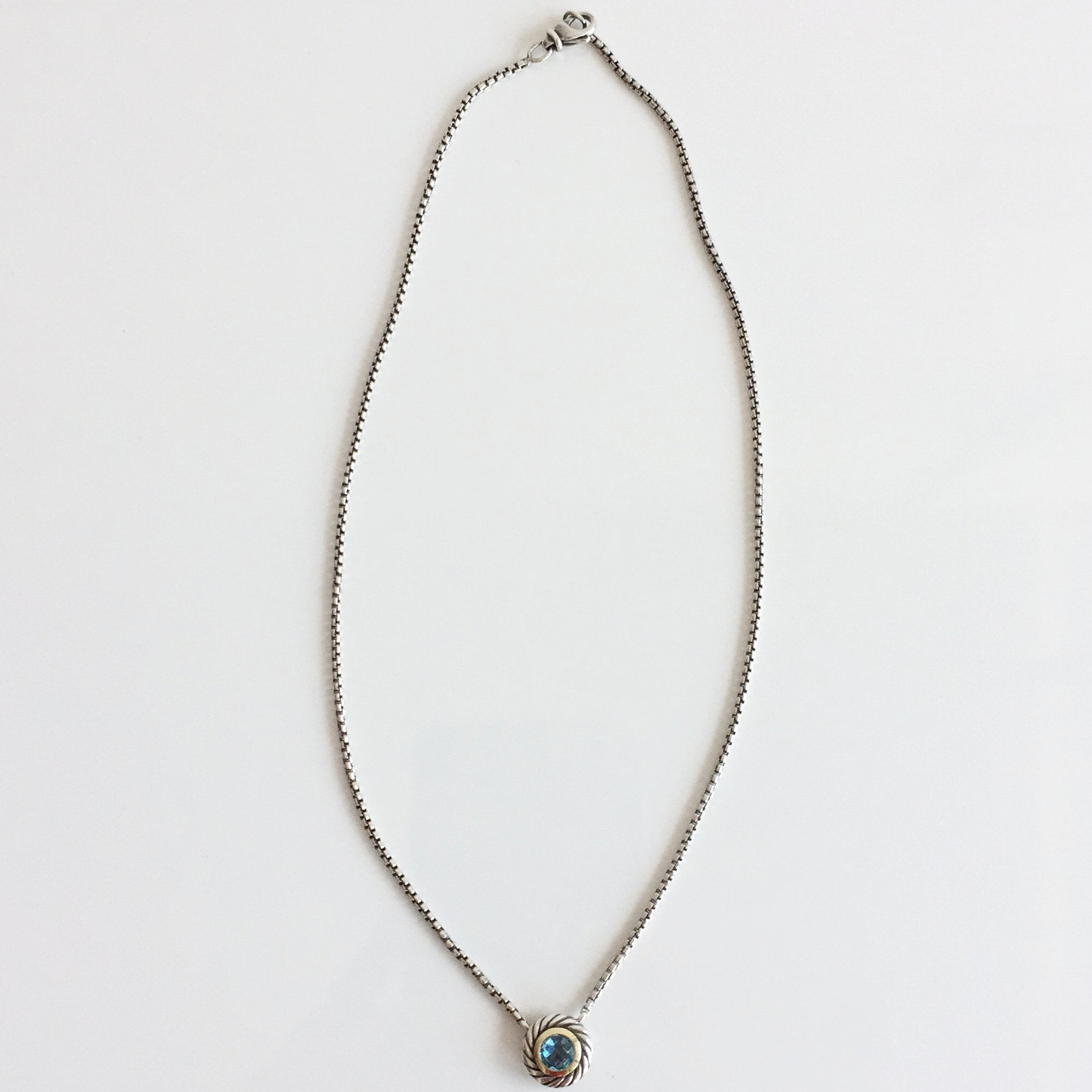 Authentic DAVID YURMAN Blue Topaz Round Albion Necklace