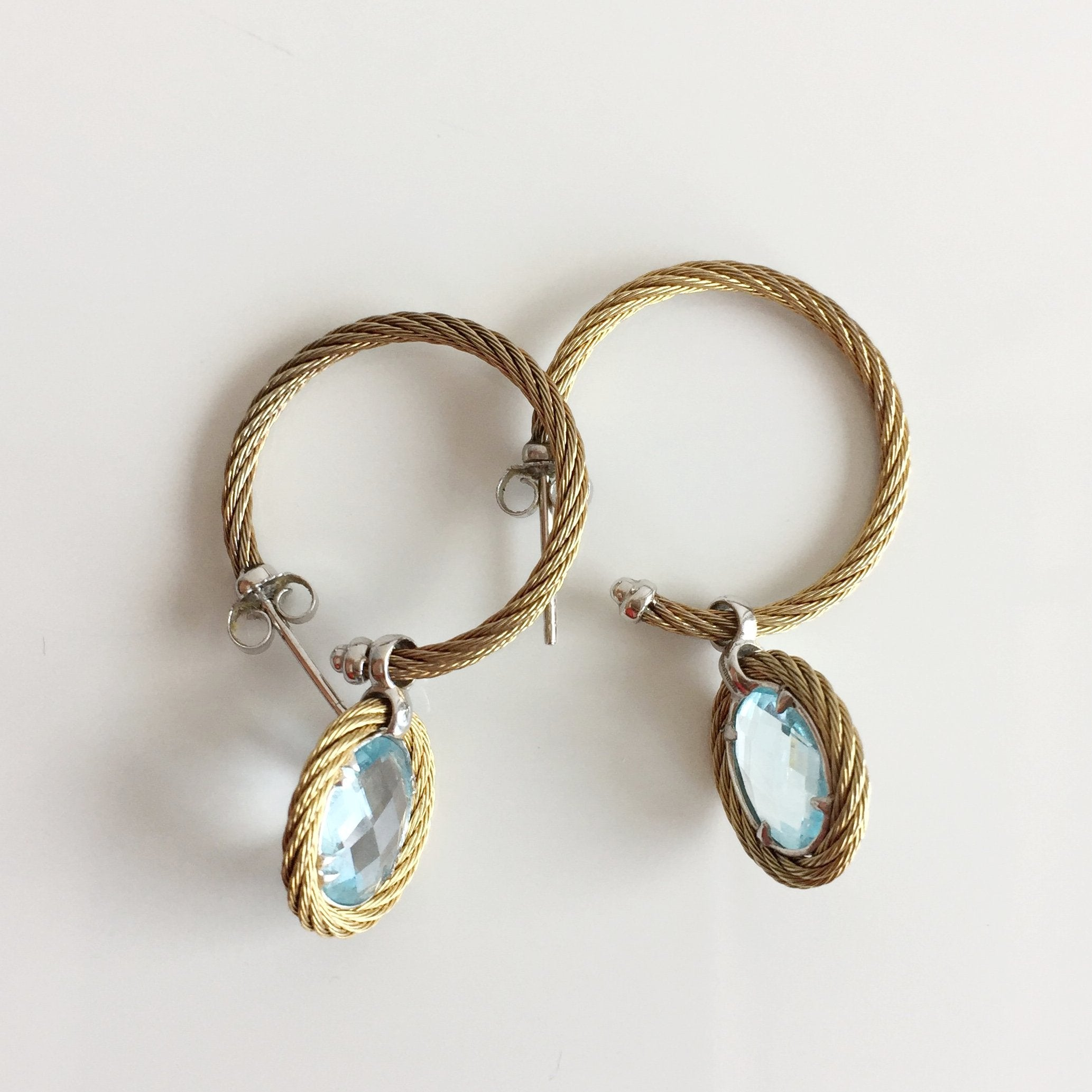 Authentic CHARRIOL Blue Topaz 18K Gold Cable Earrings