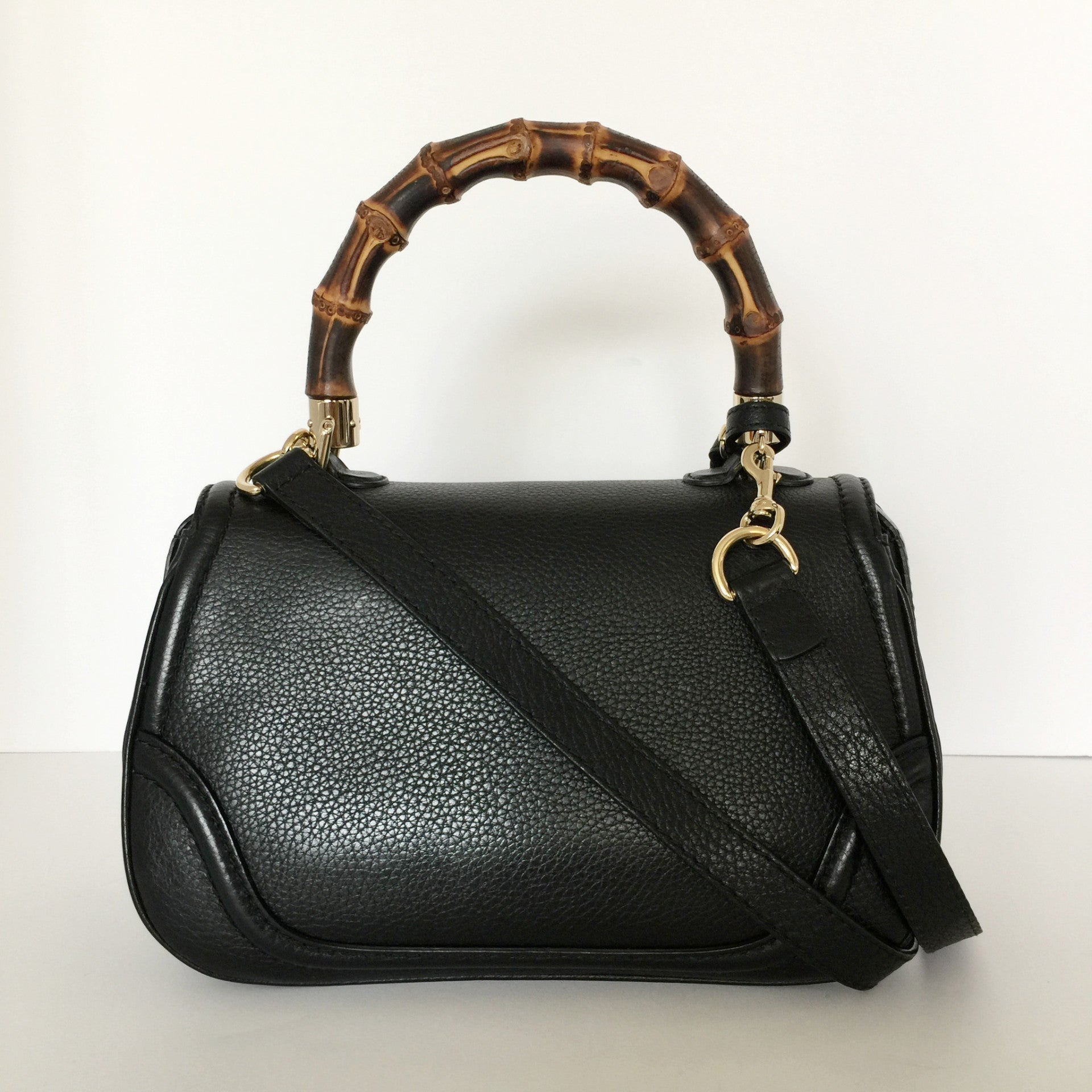 Authentic GUCCI Black Bamboo Handbag
