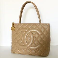 Authentic CHANEL Medallion Beige Tote