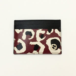 Authentic GUCCI Red Leopard Print Card Holder