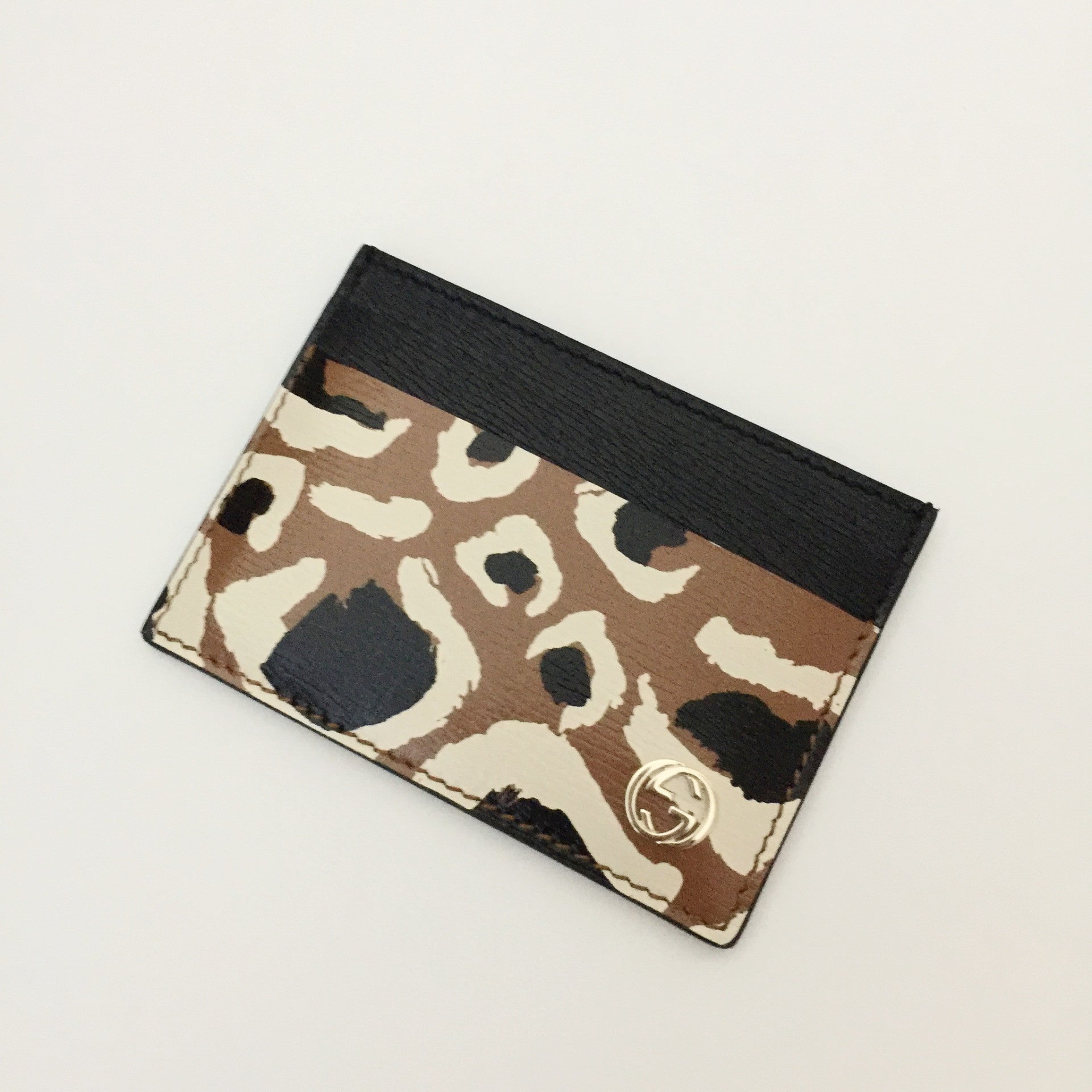 Authentic GUCCI Tan Leopard Print Card Holder