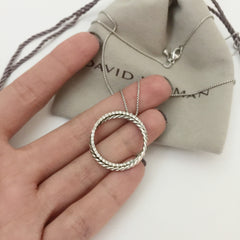 Authentic DAVID YURMAN Box Chain Diamond Circle Pendant