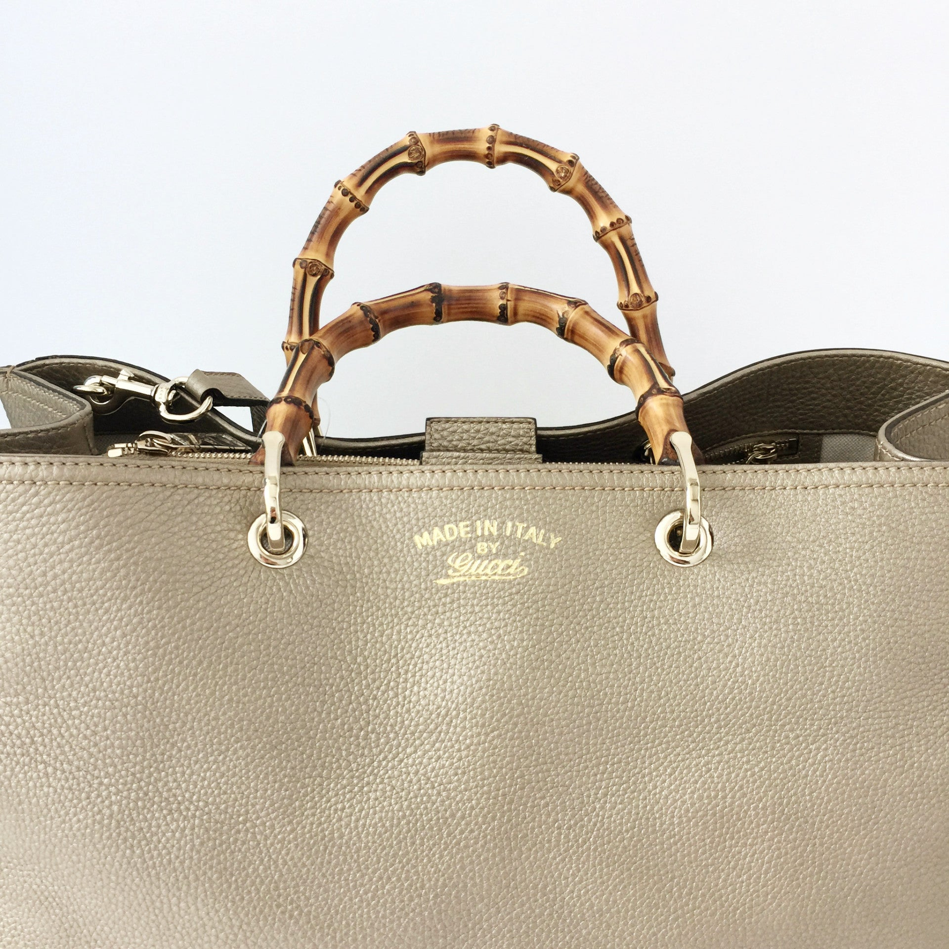 ce60a1c53d60 Authentic Gucci Bamboo Large Metallic Shopper – Valamode