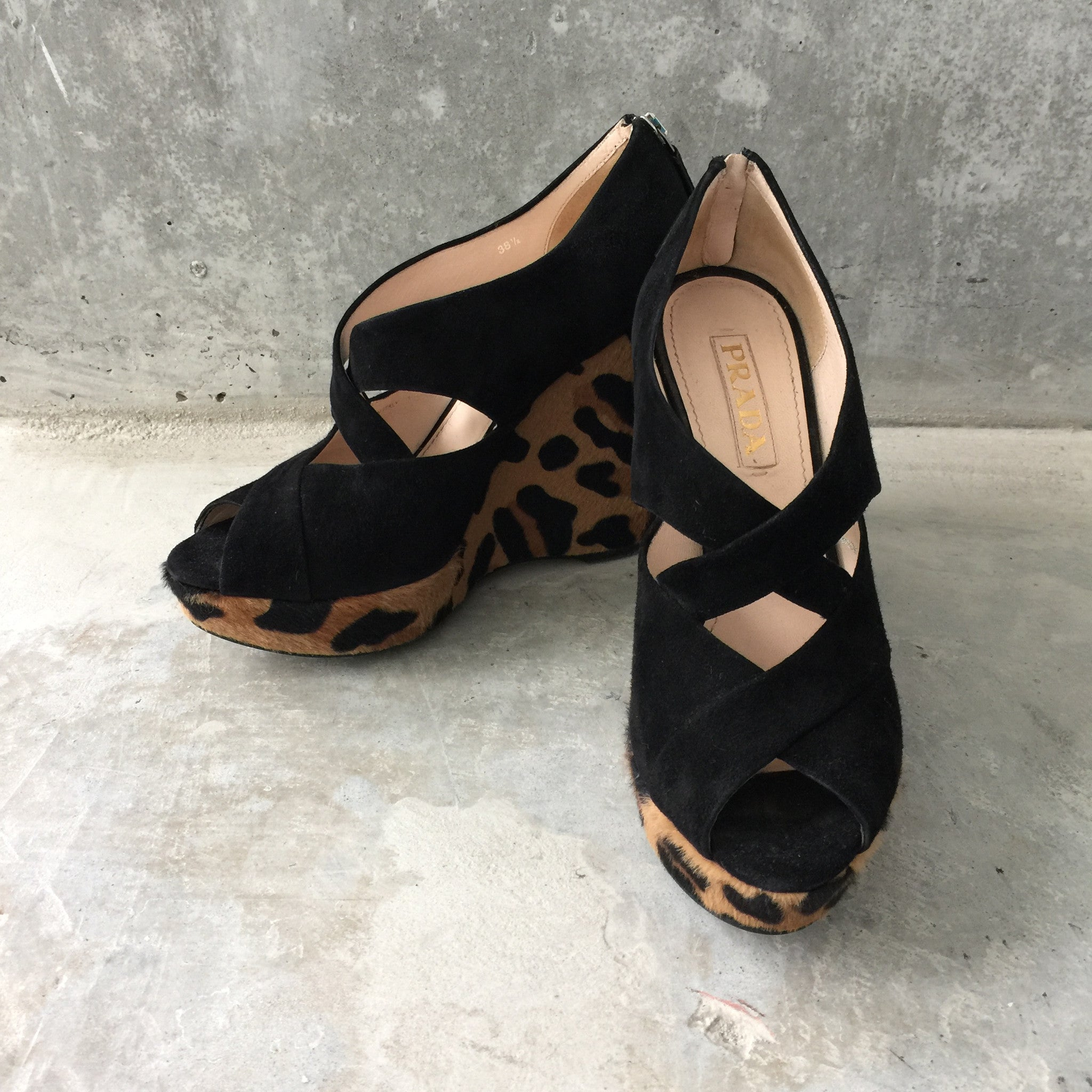 Authentic PRADA Leopard Wedges Size 38.5