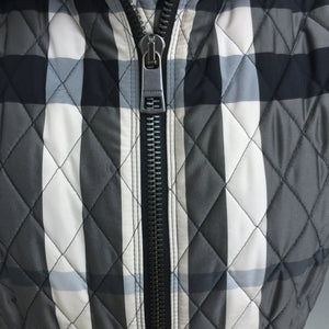 Authentic BURBERRY Grey Beat Check Peplum Waist Jacket