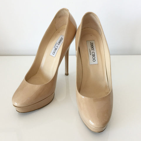 Authentic JIMMY CHOO Patent Nude Pumps Size 7