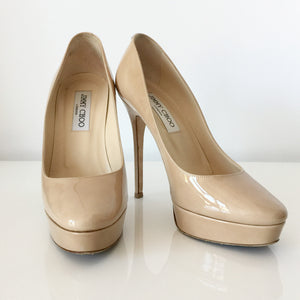 Authentic JIMMY CHOO Cosmic Patent Nude Pumps Size 7