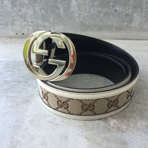Authentic GUCCI Interlocking Canvas Belt Size 95
