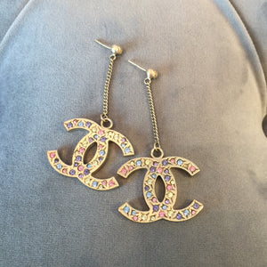 Authentic CHANEL XL Crystal Drop Earrings