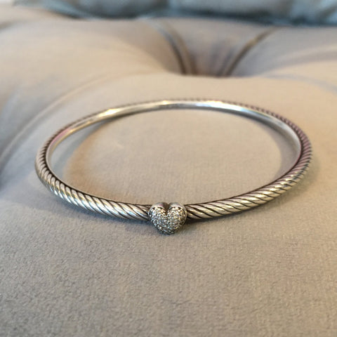 Authentic DAVID YURMAN Diamond Heart Bangle