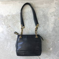 Authentic CHANEL Black Caviar Shoulder Bag