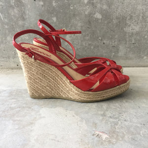 Authentic GUCCI Espadrilles Wedge Sandles Size 39.5