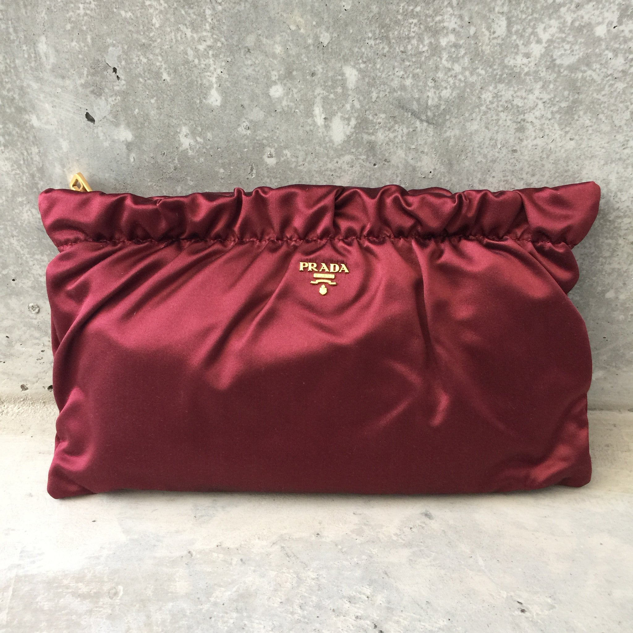 Authentic PRADA Burgandy Silk Clutch
