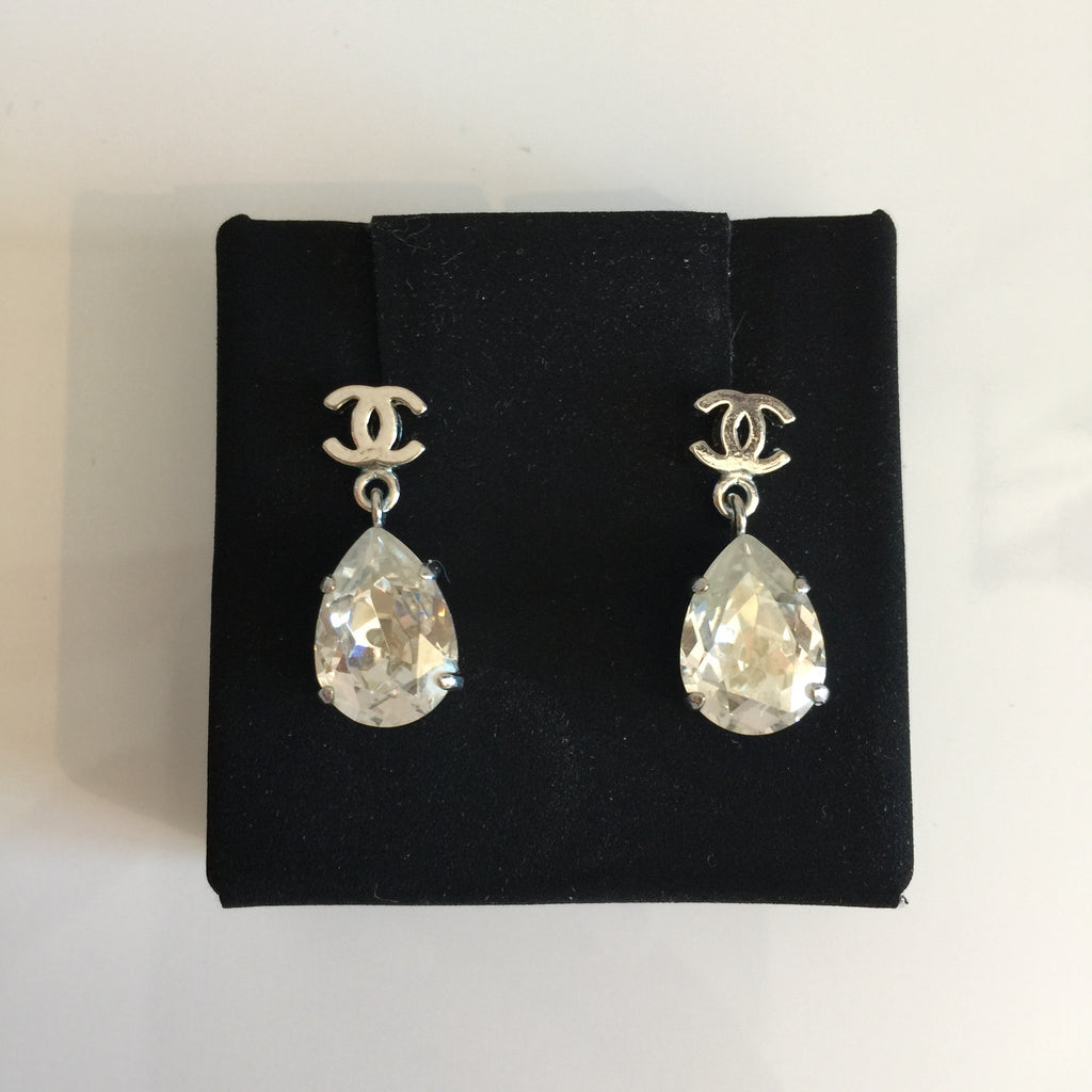 Authentic CHANEL Crystal Tear Drop Earrings