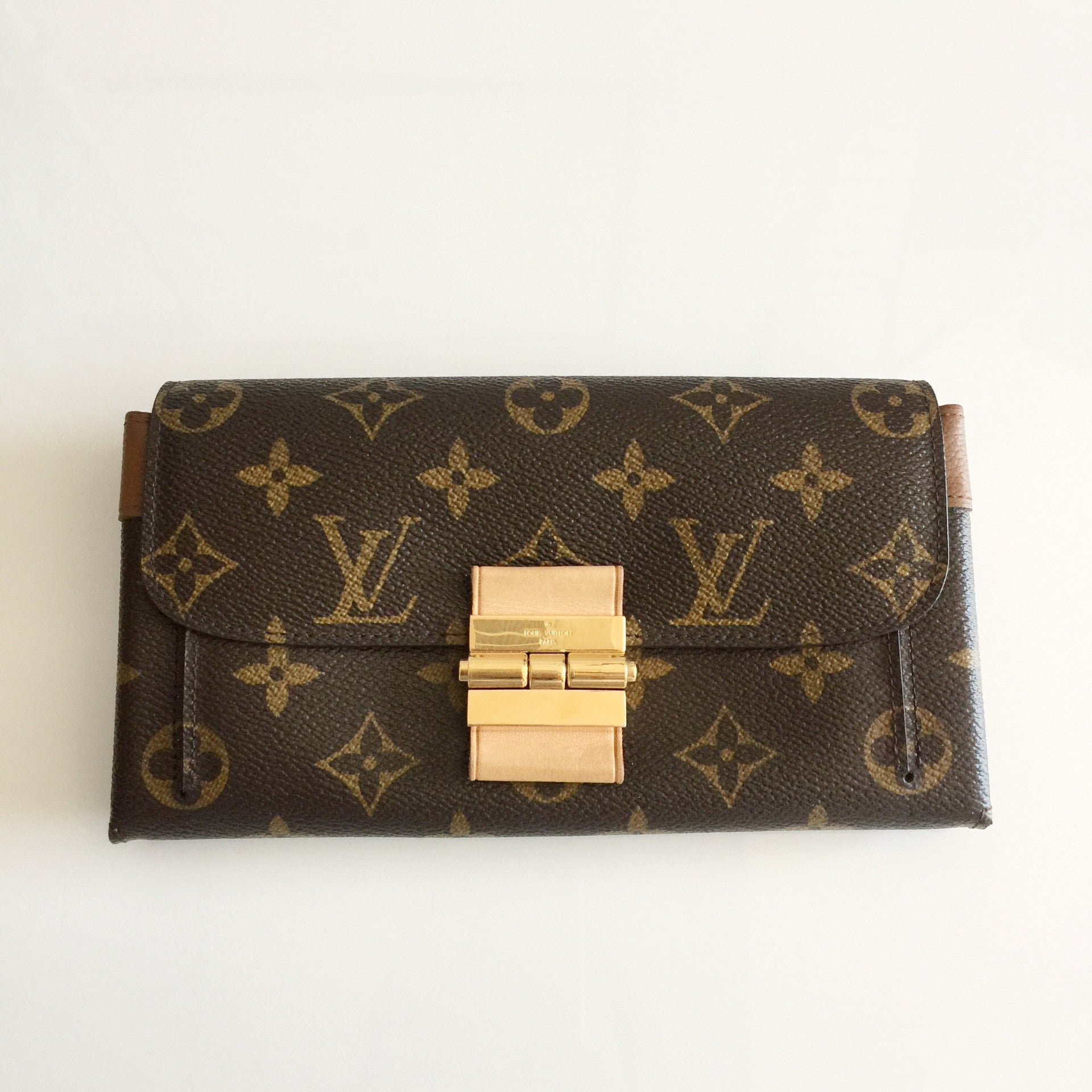 Authentic LOUIS VUITTON Monogram Elysee Wallet Havane