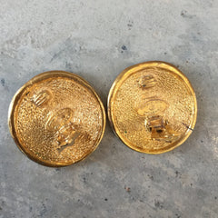 Authentic Chanel Medallion Clip-On Earrings