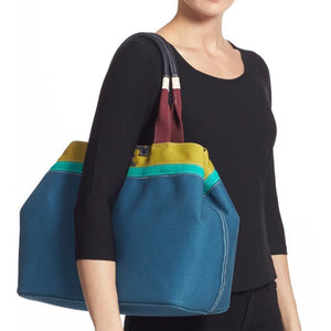 Authentic TORY BURCH Serif T Colorblock Canvas Tote