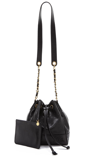 Authentic CHANEL Black Leather Bucket Bag