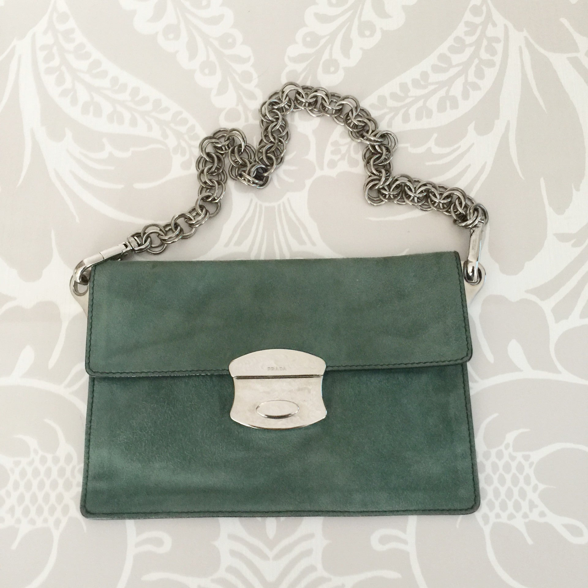 Authentic PRADA Seafoam Green Suede Chain Bag