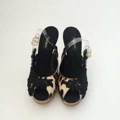 Authentic DOLCE & GABBANA Leopard Wooden Heels Size 8
