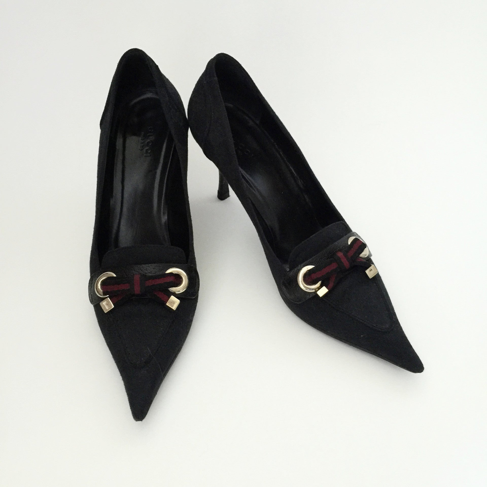 Authentic GUCCI Black Canvas Point Toe Kitten Heel 40